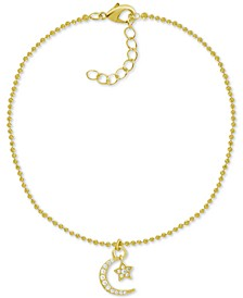 Crystal Star & Moon Charm Anklet in Gold-Plate