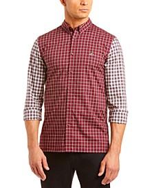 Men's Patchwork Checkered Color Block Shirt