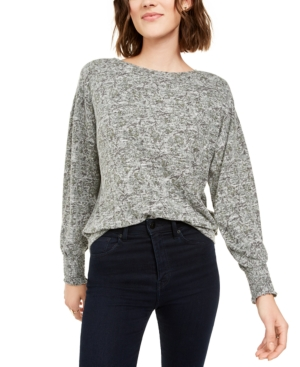 Lucky Brand Knits PRINTED SMOCKED-CUFF KNIT TOP
