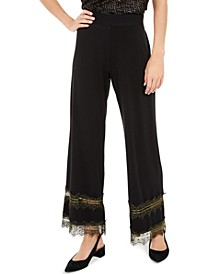 Petite Lace-Inset Palazzo Pants, Created For Macy's