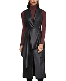 Faux-Leather Drape-Front Long Vest