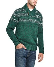 Men's Jacquard Shawl Collar Sweater