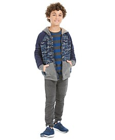 Big Boys Camp-Print Fleece-Lined Full-Zip Hoodie, Stripe Thermal T-Shirt & Knit Moto Joggers, Created For Macy's
