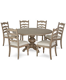 Ellan Round Dining Furniture, 7-Pc. Set (Table & 6 Side Chairs), Created for Macy's