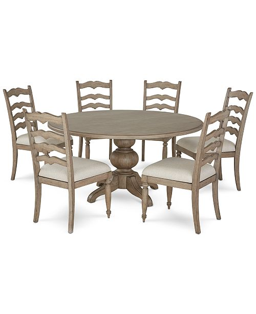 Ellan Round Dining Furniture, 7-Pc. Set (Table & 6 Side Chairs), Created  For Macy\'s