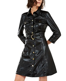 I.N.C. Faux-Leather Snake-Embossed Shirtdress, Created For Macy's