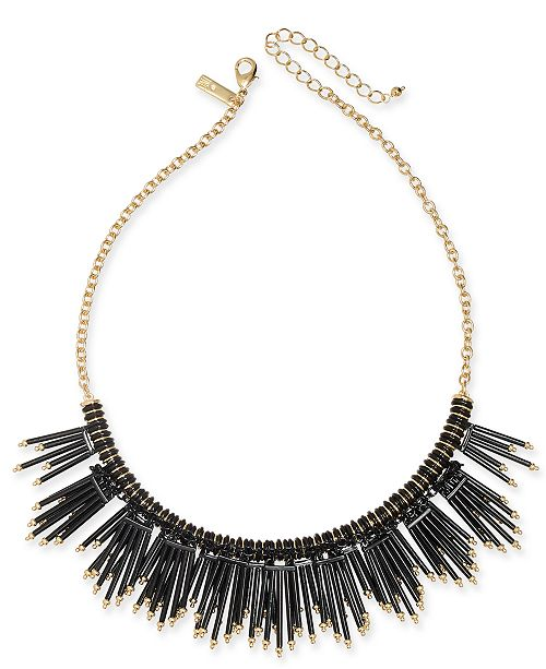 """INC International Concepts INC Gold-Tone Beaded Fringe Statement Necklace, 16"""" + 3"""" extender, Created For Macy's"""