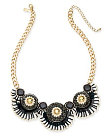 """INC Gold-Tone Sequin, Bead & Imitation Pearl Glitter Statement Necklace, 18-1/2"""" + 3"""" extender, Created For Macy's"""