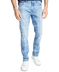 Tommy Hilfiger Men's Slim Tapered Grid-Pattern Jeans