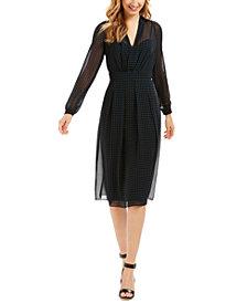 Anne Klein Pleated Sheer-Overlay Dress
