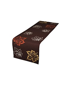 """Rustic Autumn Embroidered Fall Table Runner, 16"""" x 70"""""""