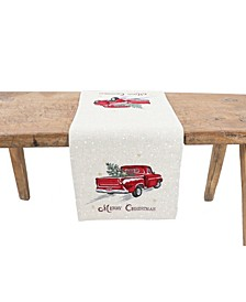 Merry Christmas Truck Embroidered Table Runner