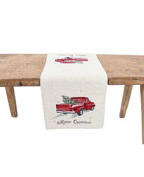 Manor Luxe Merry Christmas Truck Embroidered Table Runner