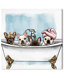 Frenchies in The Tub Canvas Art Collection