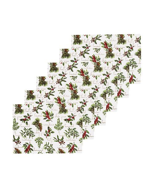 C&F Home Winter Botanical Placemat, Set of 6