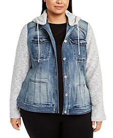 INC Plus Size Knit-Sleeve Denim Jacket, Created For Macy's