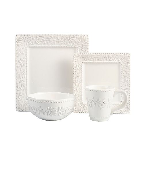 Jay Imports Bianca Leaf 16 Pc Dinnerware Set