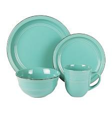 Jay Imports Madelyn Aqua Blue 16 Pc Dinnerware Set