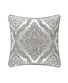"J Queen Eleanora Silver 20"" Square Decorative Throw Pillow"