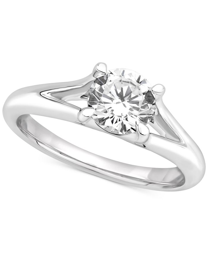 GIA Certified Diamonds - Certified Diamond Solitaire Engagement Ring (1 ct. t.w.) in 14k White Gold
