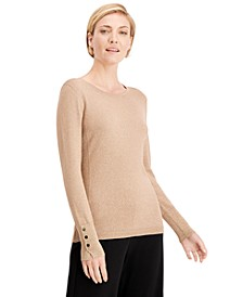 Metallic Round-Neck Stud-Cuff Sweater, Created For Macy's