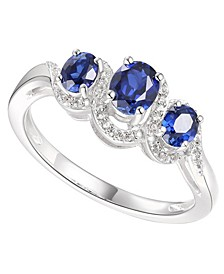 Sapphire (3/4 ct. t.w.) & Diamond (1/10 ct. t.w.) Statement Ring in Sterling Silver