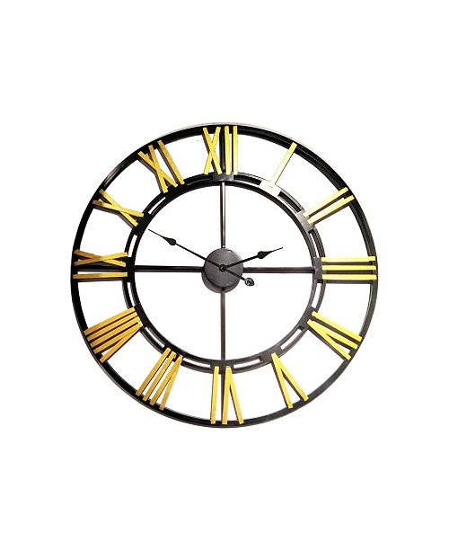 Peterson Artwares Wrought Iron Wall Clock with Bold Rusty Roman Number