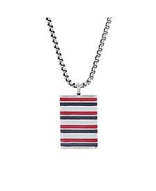 Enamel Stripe Pendant Men's Necklace