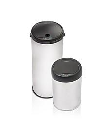 Brushed Stainless Steel Motion Sensor 2 Piece Trashcan Set