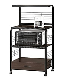 Wood and Metal Kitchen Cart with Casters