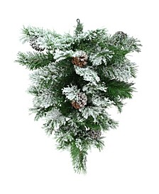 "22"" Snowy Flocked and Pinecones Christmas Teardrop Swag - Unlit"