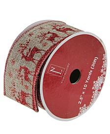 "Wandering Red Reindeer Brown Burlap Wired Christmas Craft Ribbon 2.5"" x 10 Yards"