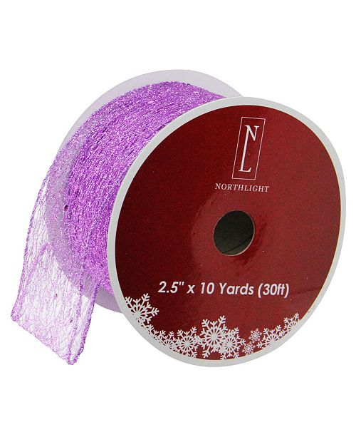 "Northlight Glittering Purple Wired Christmas Craft Ribbon 2.5"" x 10 Yards"