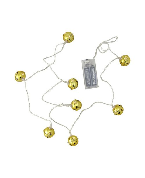 Northlight 8ct LED Gold Jingle Bell with Star Cut-Outs Battery Operated Christmas Lights - Clear Wire