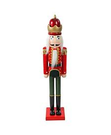 """36"""" Red and Green Velvet Wooden Christmas Nutcracker King"""