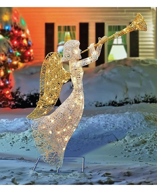 Northlight Lighted Glitter Silver-Tone and Gold-Tone Trumpeting Angel Christmas Outdoor Decoration