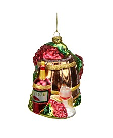 Tuscan Winery Wine Barrel Glass Christmas ornament