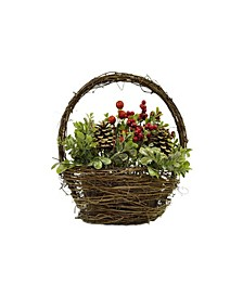 """12"""" Pine Cones Berries and Boxwood in Twig Basket Christmas Tabletop Decoration"""