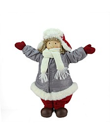"12.25"" Cheerful Young Boy Gnome in Gray Puffy Winter Coat and Red Hat Christmas Decoration"