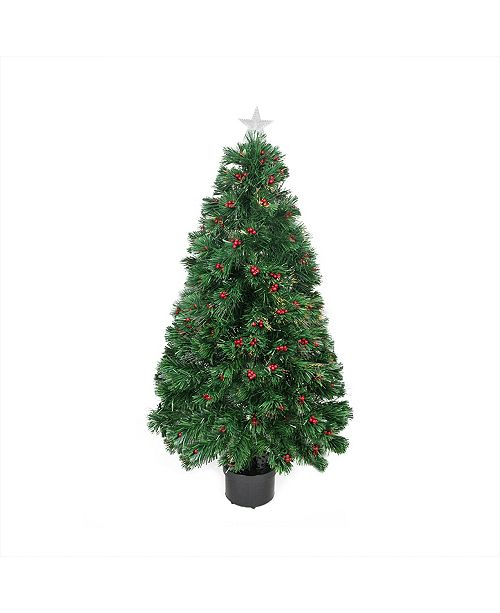 Northlight 4' Pre-Lit Color Changing Fiber Optic Artficial Christmas Tree with Red Berries