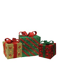 Set of 3 Lighted Sparkling Gold Green and Red Sisal Gift Boxes Christmas Outdoor Decorations