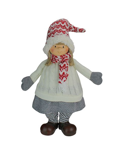 """Northlight 19.5"""" Red Gray and Ivory Young Girl Gnome Christmas Tabletop Decoration"""