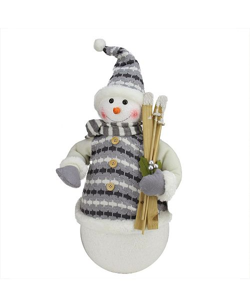 """Northlight 20"""" Alpine Chic Snowman with Gray and White Jacket Christmas Decoration"""
