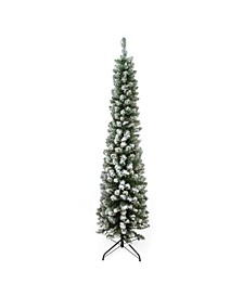 6' Flocked Traditional Green Pine Pencil Artificial Christmas Tree - Unlit