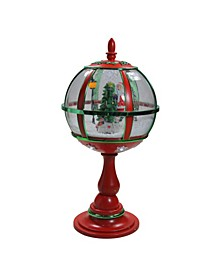 Lighted Musical Snowing Santa with Christmas Tree Table Top Street Lamp