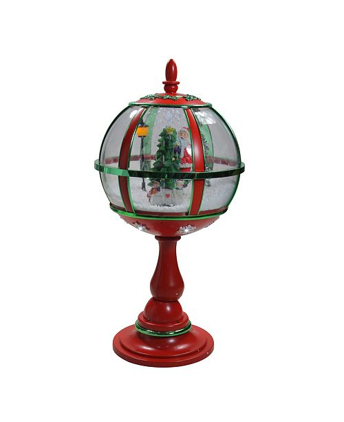 """Northlight 69"""" Lighted Red and Gold Musical Snowing Christmas Tree Round Street Lamp"""
