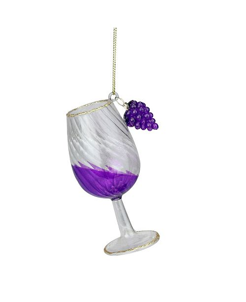 """Northlight 4.25"""" Purple Embellished Tipped Wine Glass Christmas Ornament"""