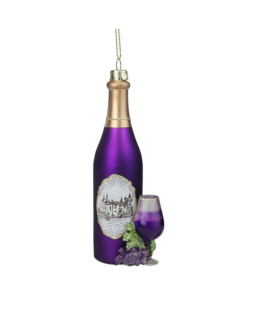 "Northlight 5.75"" Purple Wine Country Glass Bottle Christmas Ornament"