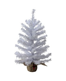 "24"" White Balsam Pine Artificial Christmas Tree in Burlap Base - Unlit"
