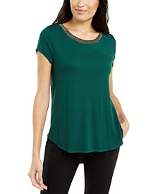 Metallic-Trim Top, Created for Macy's